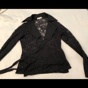 Anne Fontain Black Floral Lace Collared wraparound